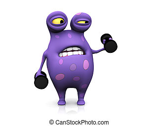 A spotted monster exercising with dumbbells - A cute...