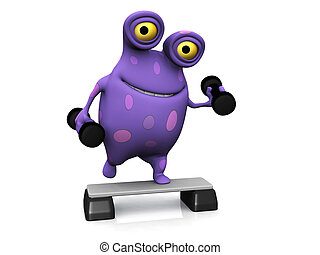 A spotted monster exercising with dumbbells. - A cute...