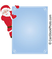 Santa Claus on congratulation card - Santa Claus hanging on...