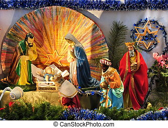catholic christmas scene with gospel biblical statues