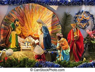 catholique, noël, scène, Évangile,...