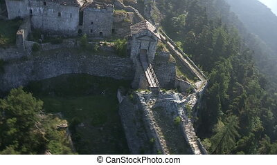 Aerial view of old castle - Aerial view of ruins of an old...