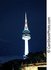 Beautiful night view of Namsan Tower in South Korea