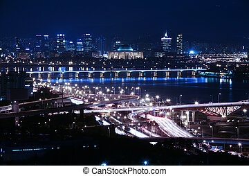 Beautiful night view of Seoul in South Korea