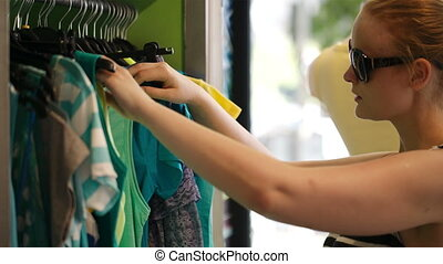 Young woman shopping.