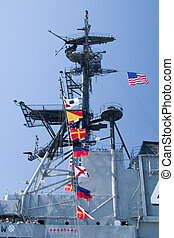 Flags on Aircraft Carrier - The row of flags found on the...