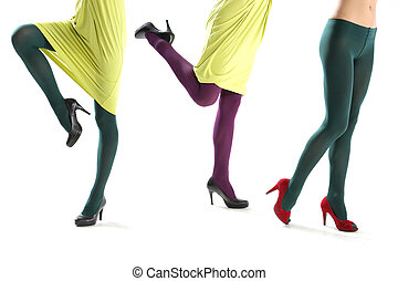 womens tights - Shapely female legs clad in colorful tights...