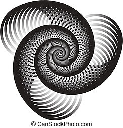 Triple Nautilus - Spiral shapes are featured in an abstract...