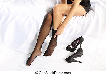 Application sexy black stockings - Beautiful young girl...
