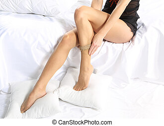 Beautiful woman imposes tights - Young girl found a...