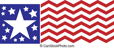 Abstract American Flag with wavy stripes and various stars