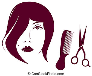 woman face with comb and scissors - beauty woman face with...