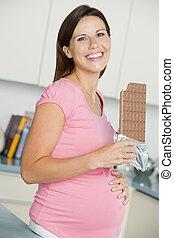 enceintes, femme, cuisine, grand, chocolat, barre, Sourire