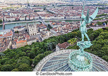 Lyon from the top of Notre Dame de Fourviere - View of Lyon...