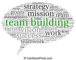 trabajo en equipo, concepto, palabra, nube, etiqueta