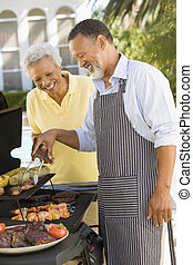 pareja, cocina, en, Un, Barbacoa