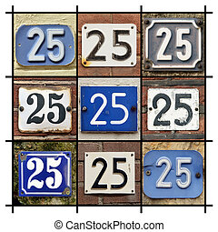 Numbers 25 - Collage of House Numbers Twenty-five