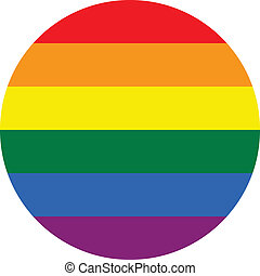 Gay flag button - Gay Flag circle Button. Vector...