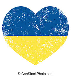 Ukraine retro heart flag - vector - Ukrainian vintage flag,...