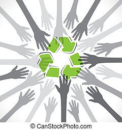 recycle concept - hand support recycle concept background...