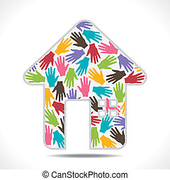 creative colorful home design with hand pattern vector