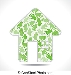 creative home - home design with hand pattern vector