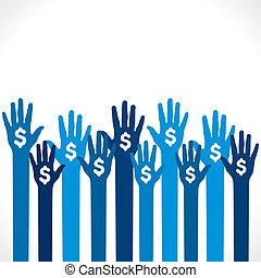 dollar symbol in hand background vector
