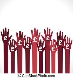 pound symbol in hand background vector