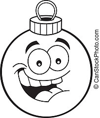Cartoon Christmas ornament - Black and white illustration of...