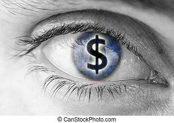Greed concept - Dollar sign in human pupil. Greed concept.