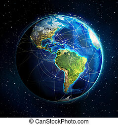 earth and connections - earth and flight routes - Universe...