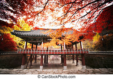 Autumn landscape with temples in south korea,naejangsa