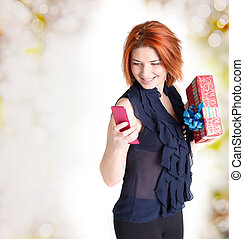 Happy red-haired woman - Happy smiling red-haired woman with...