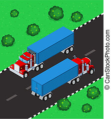 isometric truck parking in the street, available in 2 view,...