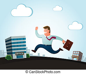 moving to the new office - worker jumping and smiling...