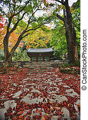 Autumn landscape with temples in south korea, seonunsa
