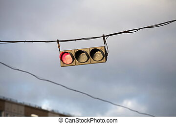red traffic light - Traffic light on the background of the...