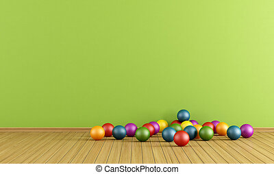 Play room with plastic balls - Green play room with colorful...