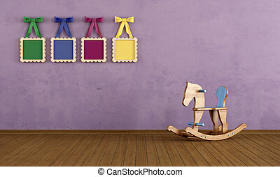 Vintage play room with wooden horse and colorful frame with...