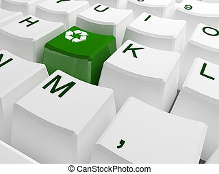 Recycle symbol button on white keyboard 3d