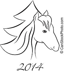New Year vector Horse background