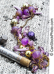 sewing kit - composition the objects of jewelry and beaded...
