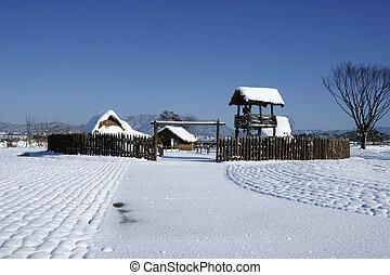 hermoso, invierno, paisaje, sur, corea, Gochang, Dolmen