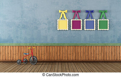 Blue vintage play room with tricycle - Vintage play room...