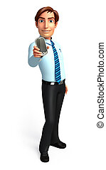 Service man with mobile - 3d rendered illustration of...
