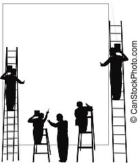 problem solving in silhouette - team of men solving problems...