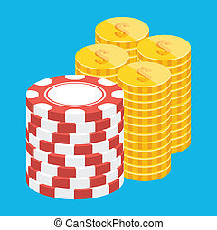 Vector Coins and Casino Chip Stacks