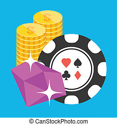 Vector Poker Chip Ruby and Coins