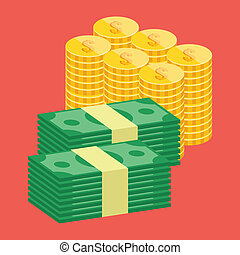 Vector Dollars & Golden Coins Icon