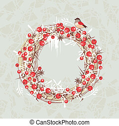 Christmas Wreath - Decorative Christmas berries wreath on...